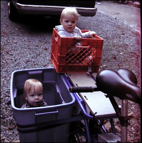 Kids riding on the Yuba Mundo