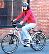 A drop-frame style electric bike with integrated battery