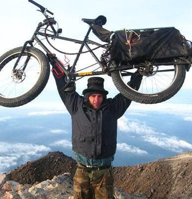 At the top of Tajumulco Volcano, Riding the Spine